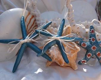 Starfish Ornaments - Set of 3, Blue