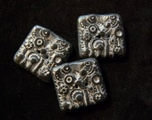 Set of 3 Carved Square Black Buttons