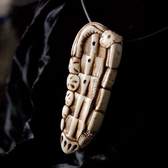 faux carved ivory pendant-- Ocean Bone 2