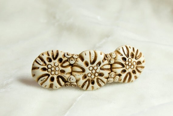 floral faux-ivory barette or hairclip