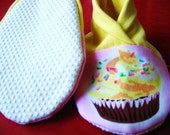 Toddler's Yellow Cupcake Slippers with non-slip bottom