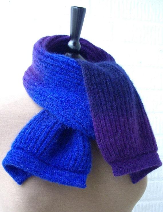 Scarf men women wool blue purple