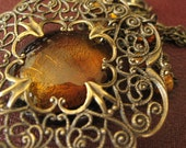 All Hallows Eve / Dark Moon - Orange glass filigree necklace - Honeyed