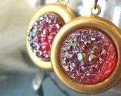 Raspberry Sugar - Purple pink glass earrings - Sweet Distractions CLEARANCE 20% OFF