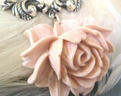Beauty at the Cottage - Peach rose silver necklace - Elysia