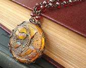 Fairy Ring Flower II - Orange tulip filigree necklace - Elysia