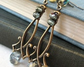 Sparkling Black Diamonds - Gray glass brass earrings - Elysia