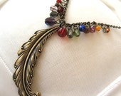 Quill Ideas - Rainbow glass brass feather necklace - Elysia