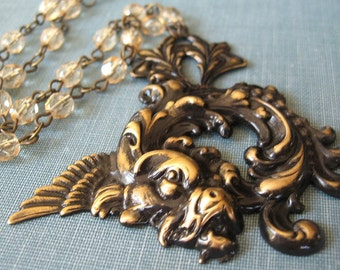 Luck - Black gold dragon necklace - Elysia