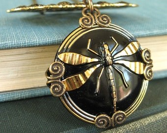 Golden Dragonfly - Gold black dragonfly necklace - Elysia