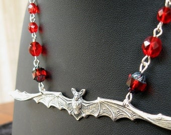 Night Flight - Silver bat gothic necklace - Bountiful Winepress