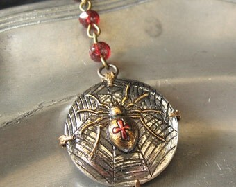 Black Widow Walking - Silver red spider gothic necklace - Bountiful Winepress