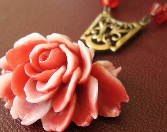 Mrs. Lovett - Red white gothic rose necklace - Bountiful Winepress