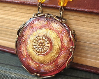 Rose Window XIV Giving Thanks Cathedral - Orange amber glass filigree necklace - Elysia