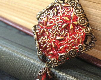 Fireworks - Red gold glass filigree necklace - Elysia
