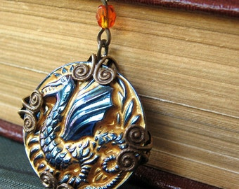 Thevetat - Blue gold dragon necklace - Elysia