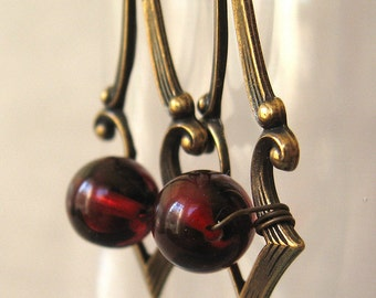 Taste of Rubies - Red glass gothic brass earrings - Bountiful Winepress