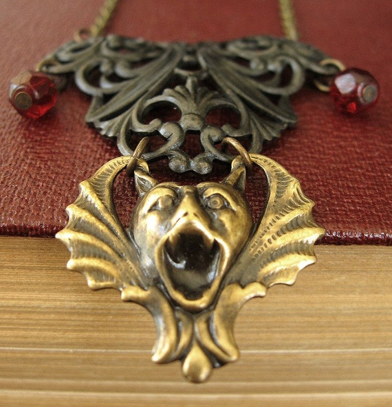 From the Shadows Guardian II - Vampire bat gothic necklace - Bountiful Winepress