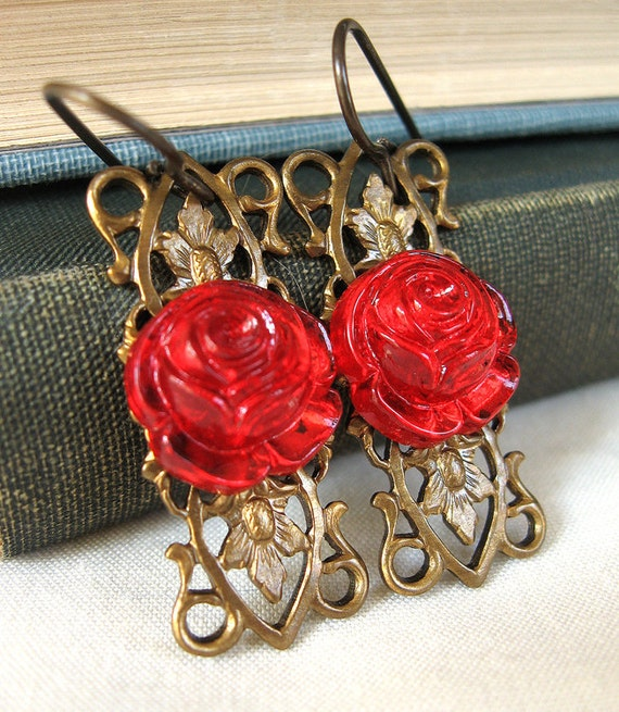 Beauty - Red rose glass earrings - Elysia