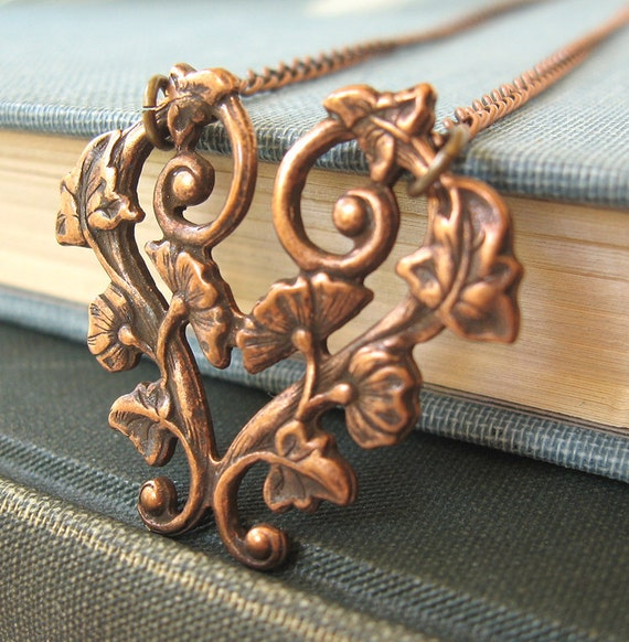 Long copper heart necklace - Protect My Heart - Tea Party Proper CLEARANCE 20% OFF