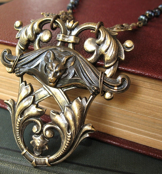 From the Shadows Gargoyle - Vampire bat large gothic necklace - Bountiful Winepress