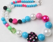 Funky Pink Blue and Crystal Tiered Necklace