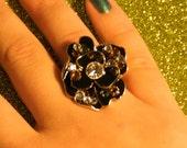 Fun and Funky Black and Brown Swarovski Crystal Ring