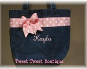Custom Personalized Girls Denim Ribbon Tote Bag