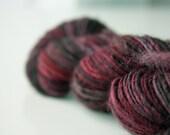 Wine Red Handspun yarn -  hand dyed merino