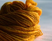 Pumpkin naturally dyed handspun yarn -115 yards