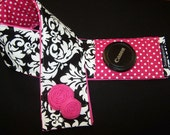 Digital SLR Camera Strap cover padded black damask hot pink dots -rosettes-lens cap pkt