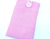 iPhone/Gadget Case - PInk and White Mini Gingham with Button and Loop Closure