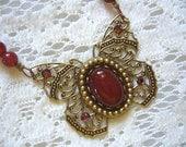 Carnelian Butterfly Victorian Necklace