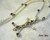 SALE - Two In One Pearl Garnet Peridot Sterling Necklace