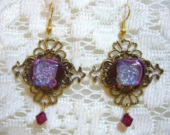 Fiery Red Dichroic Victorian Earrings