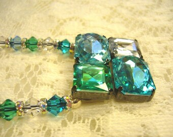 Aqua Green Bling Necklace With Free Earrings