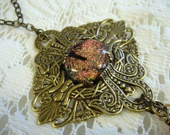 Coppery Sparkle Victorian Pendant and Necklace