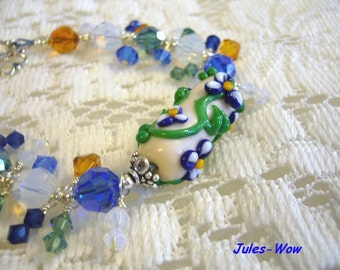 SALE - Summertime Blue And Green Lampwork Sterling Bracelet Free Shipping in USA