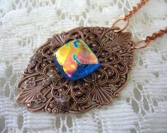 Copper Fire Victorian Pendant And Necklace