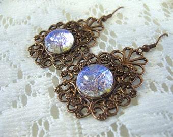 Unusual Copper Lavender Victorian Earrings