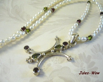 SALE - Two In One Pearl Garnet Peridot Sterling Necklace