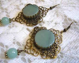 Green Aventurine Victorian Style Earrings