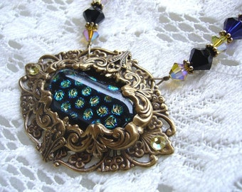 Starry Summer Night Dichroic Victorian Necklace