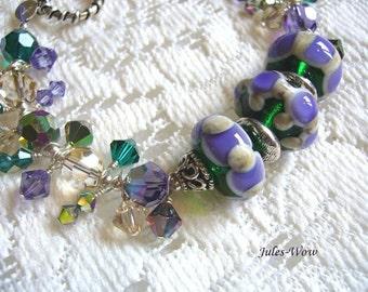 SALE - Signature Tanzanite And Emerald Beaded Sterling Bracelet