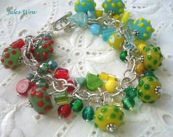 Summer Fun Beaded Lampwork Dangle Bracelet