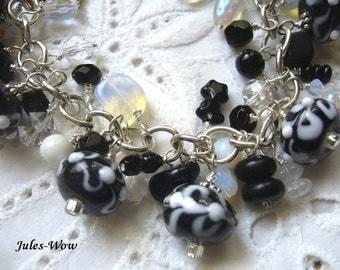 Black And White Beaded Lampwork Dangle Bracelet