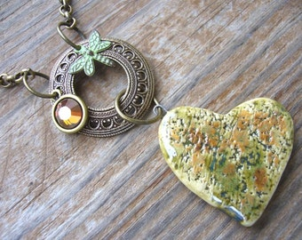 Spring Olive And Amber Ceramic And Brass Necklace