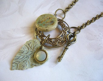 Light Spring Sage Green Brass And Ceramic Necklace