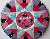 ON SALE  Decorative Frigde Magnet - Large Night Sun - Original Art OOAK