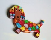 Dachshund Fridge Magnet - Rainbow Flowers